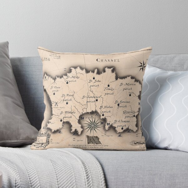 Jersey Channel Islands Olde Map, tony fernandes Throw Pillow