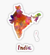 India  in watercolor Sticker
