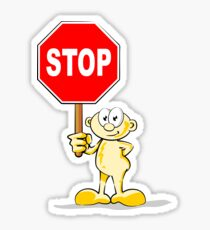 Cartoon with stop sign Sticker