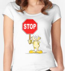 Cartoon with stop sign Women's Fitted Scoop T-Shirt
