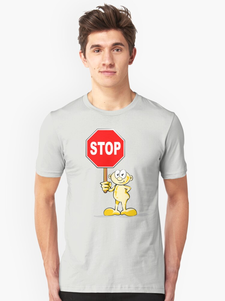 Cartoon with stop sign Unisex T-Shirt Front
