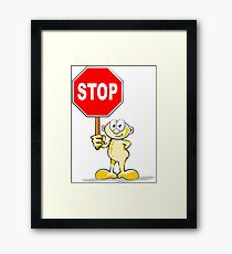 Cartoon with stop sign Framed Print