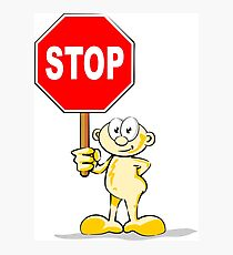 Cartoon with stop sign Photographic Print