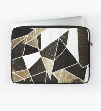 Modernes rustikales schwarzes weißes und Faux-Gold geometrisch Laptoptasche