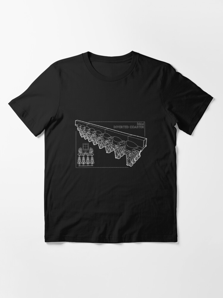 Alternate view of B&M Inverted Coaster Blueprint Design Essential T-Shirt