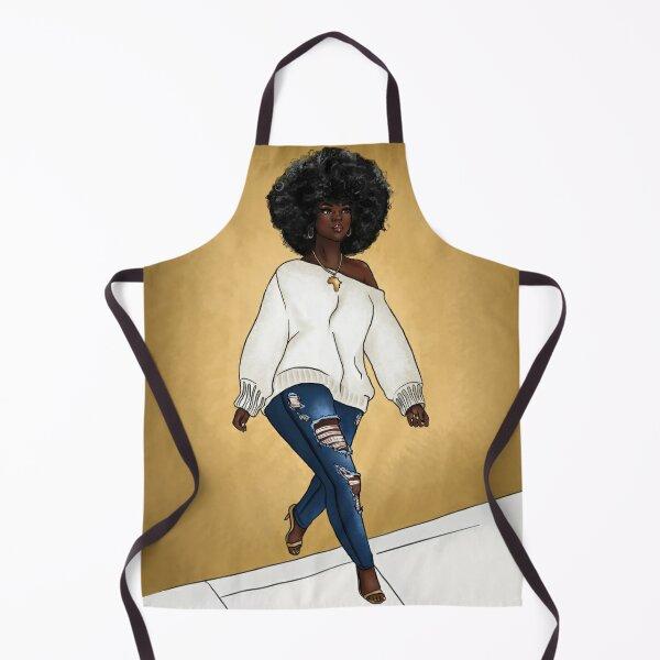 Curvy Dark Skin Black woman with big afro - African American Art Apron
