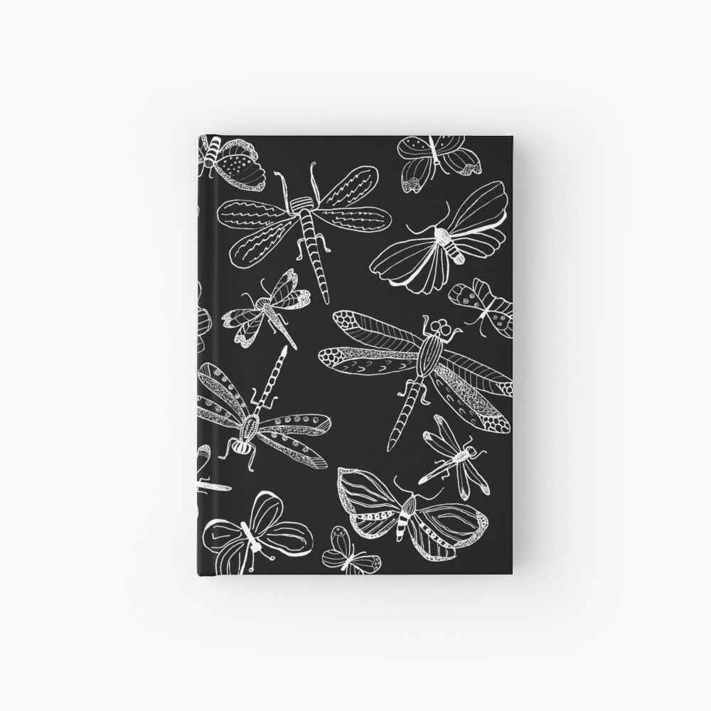 Dragonfly-Butterfly Illustration, Fine Art Hardcover Journal
