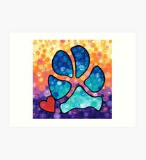 Puppy Love - Colorful Dog Paw Art By Sharon Cummings Art Print