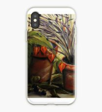 Still-life terracotta pots, lavender and chinese lanterns iPhone Case