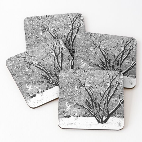 Winter Tree Coasters (Set of 4)