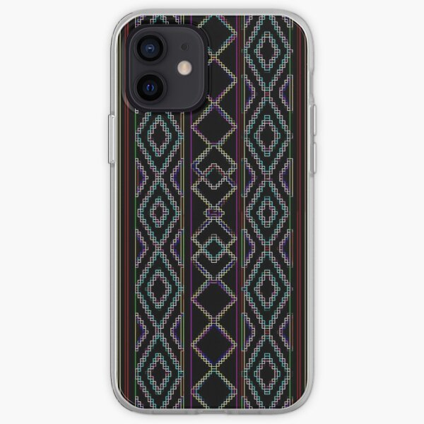 Arabesque Neon Lines Art iPhone Soft Case