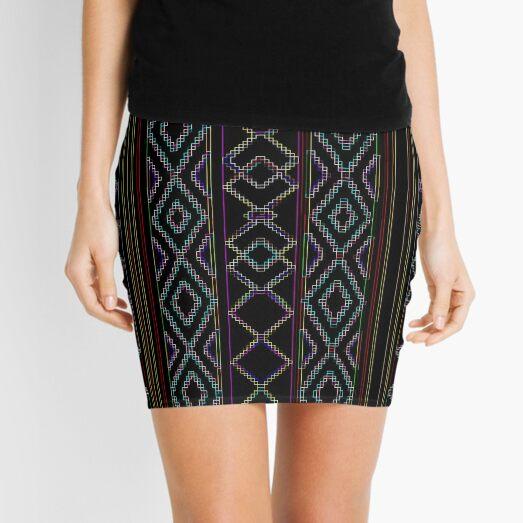 Arabesque Neon Lines Art Mini Skirt
