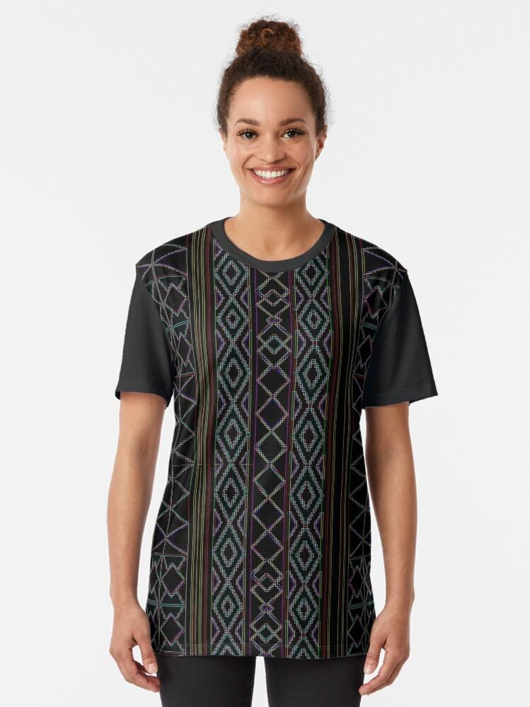 Alternate view of Arabesque Neon Lines Art Graphic T-Shirt