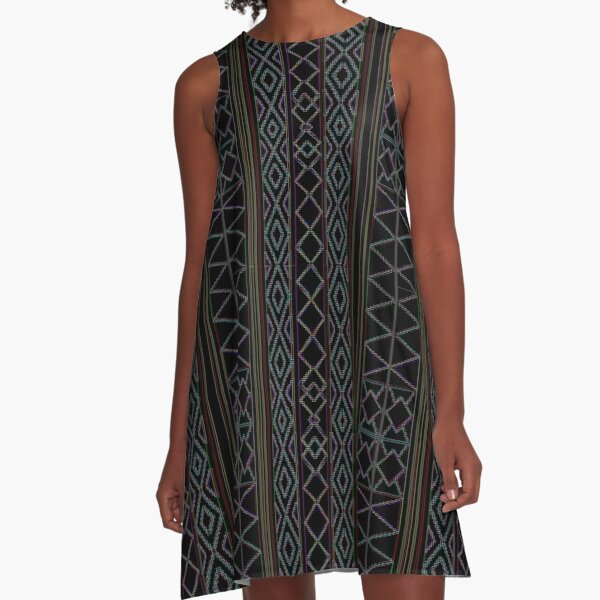 Arabesque Neon Lines Art A-Line Dress