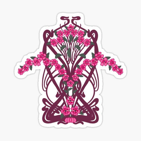 Art Nouveau Garland in Pink Sticker