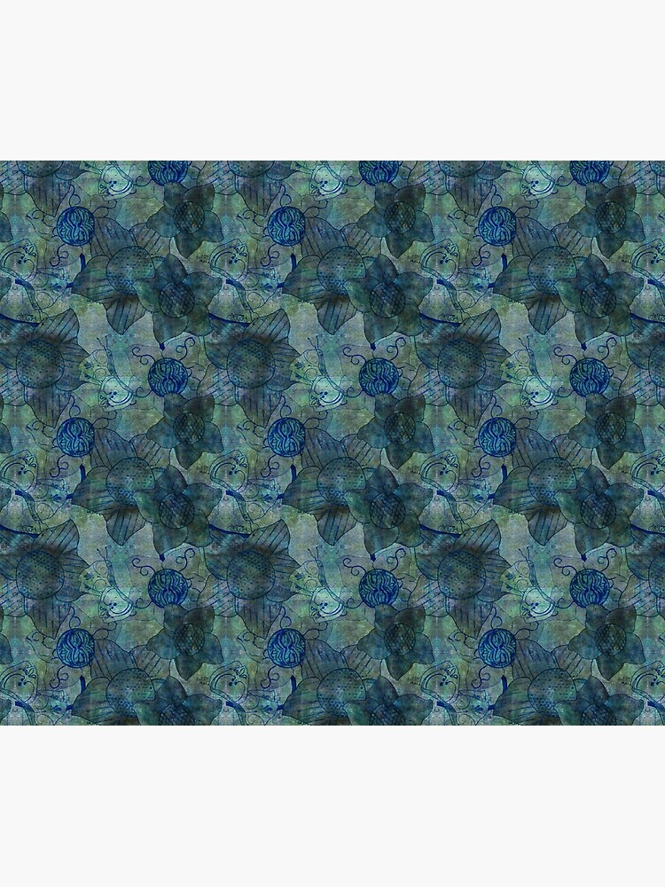 mottled green and blue floral with butterflies pattern by DlmtleArt