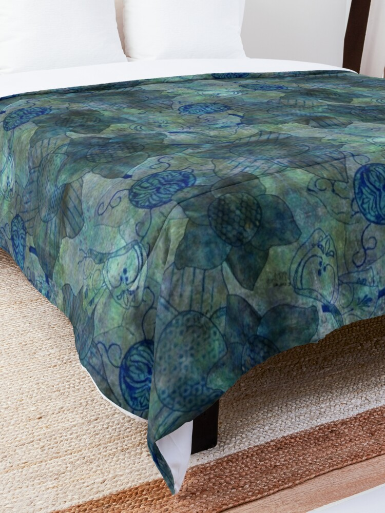 Alternate view of mottled green and blue floral with butterflies pattern Comforter