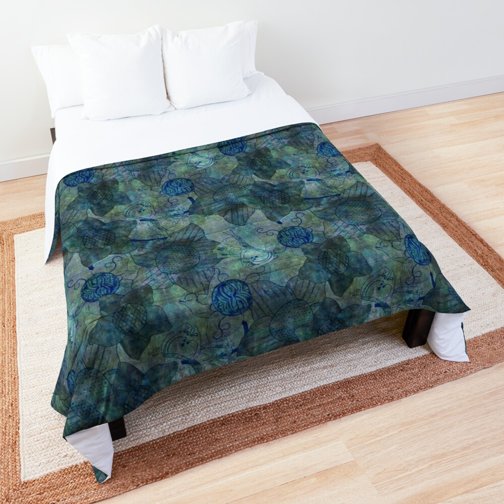 mottled green and blue floral with butterflies pattern Comforter