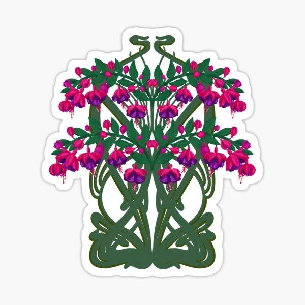 Art Nouveau Fuchsias Sticker