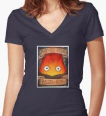 Howl's Moving Castle Illustration - CALCIFER (original)  Women's Fitted V-Neck T-Shirt