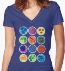 Petri Dishes  Women's Fitted V-Neck T-Shirt