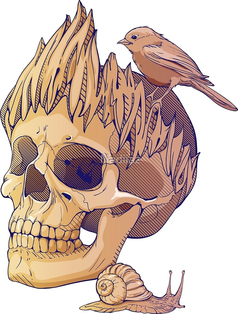 colorful illustration with skull, bird and snail by Nadiiaz