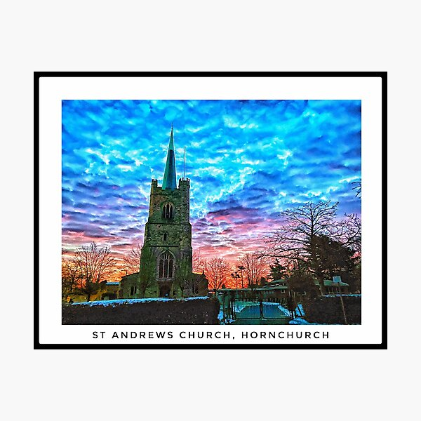 St Andrews Church, Hornchurch in the snow - landscape Photographic Print