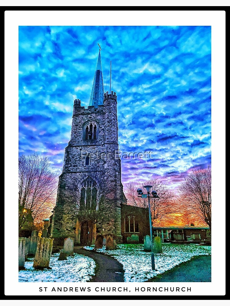 St Andrews Church, Hornchurch in the snow - portrait by hartrockets