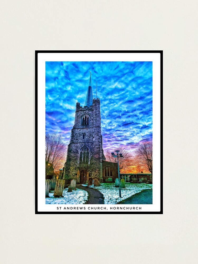 Alternate view of St Andrews Church, Hornchurch in the snow - portrait Photographic Print