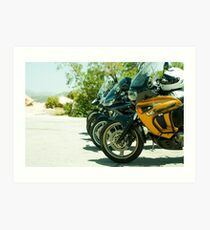 Motorcycles parked Art Print