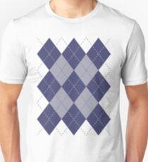 Argyle Diamonds 9 Navy Blue on White Unisex T-Shirt