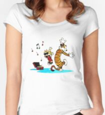 Calvin and Hobbes Music  Women's Fitted Scoop T-Shirt