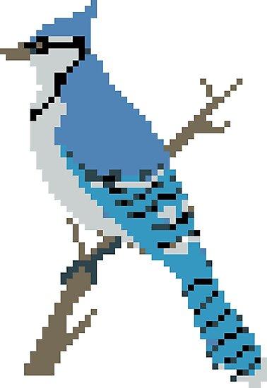 Pixel Blue Jay by SaradaBoru