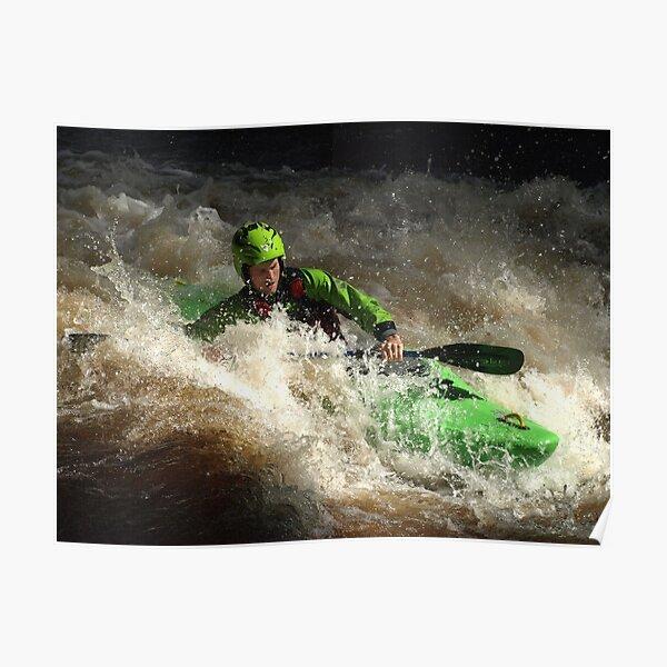Green kayaker Poster