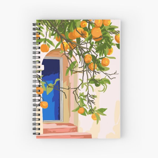 Wherever you go, go with all your heart,Summer Orange Tree Travel Luxury Villa Spain Greece Painting Spiral Notebook