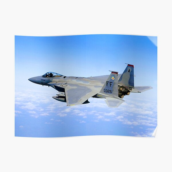 F-15 flying above the clouds Poster
