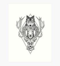 Wolf Ram Hart Art Print