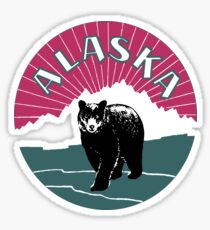 Retro Alaska travel ad, bear Sticker