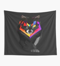 Colored wolf Wall Tapestry