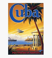 Visit Cuba Pan American Airlines Vintage Travel Poster Photographic Print
