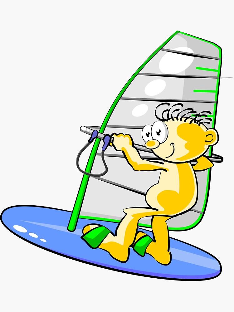 Cartoon windsurfer by MegaSitioDesign