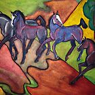 Horses playing in the field by Bine