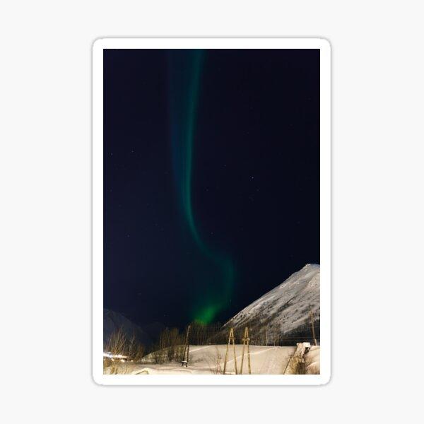 Polar arctic Northern lights Aurora Borealis activity in winter Finland, Lapland. Sticker