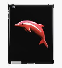 Cute 3D Red Dolphin - Black Background iPad Case/Skin