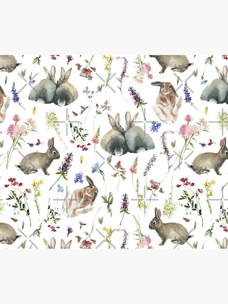 Easter Bunnies in Spring Wildflower Meadow by UtArt