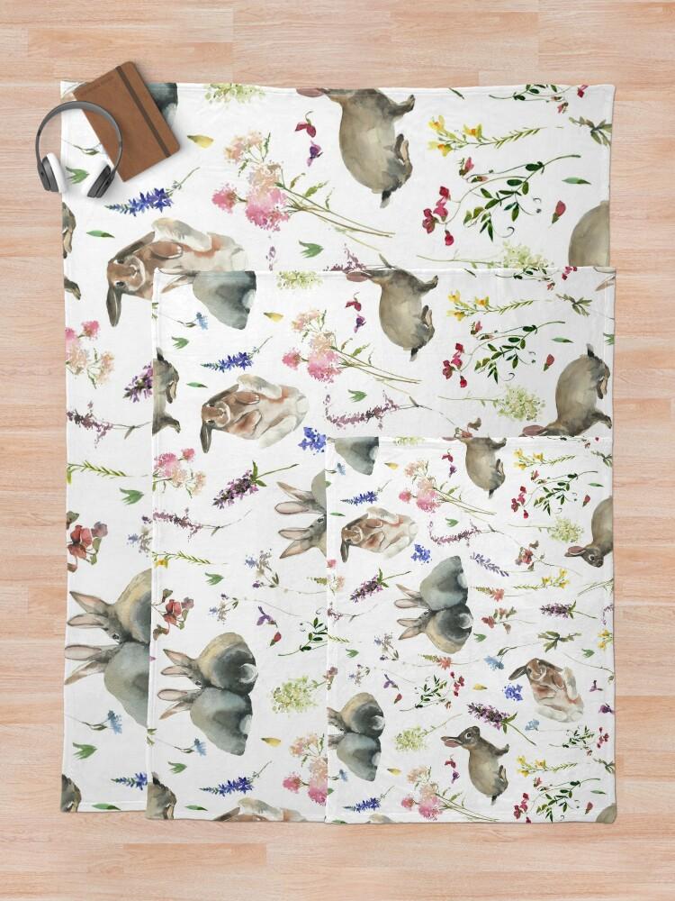 Alternate view of Easter Bunnies in Spring Wildflower Meadow Throw Blanket