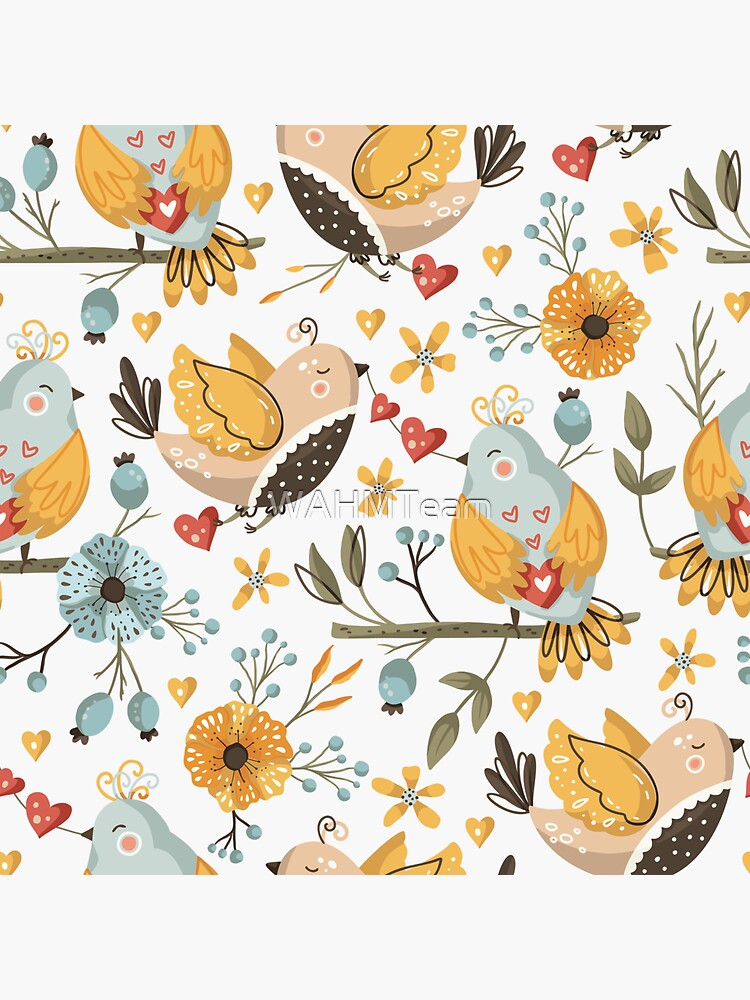 Birds and Flowers Folk Art by WAHMTeam