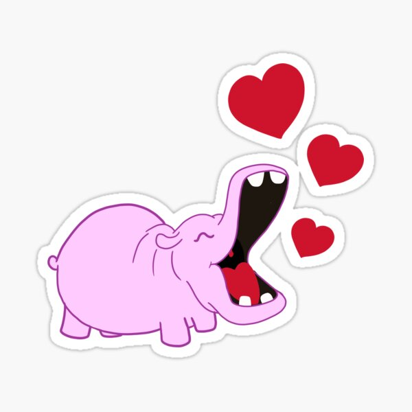 The Happy Hippo with hearts Sticker