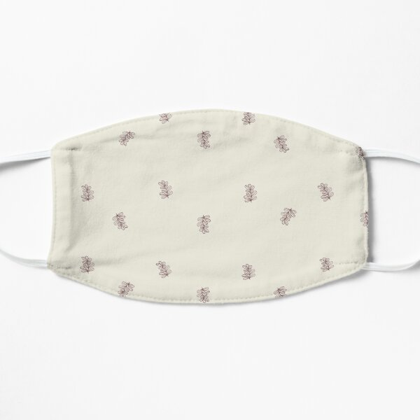 Brown and Cream Floral Leaf Pattern Flat Mask