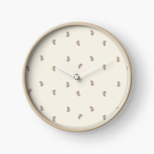 Brown and Cream Floral Leaf Pattern Clock
